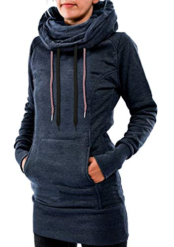 Baumwolle Extra Langes Tunika (Ehpow Damen Kapuzenpullover High Neck Lang Tunika Hoodie Sweatshirt (XX-Large, Blau))