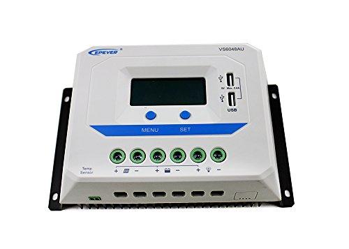 EPEVER® PWM Viewstar Serie Laderegler charge controller VS AU mit LCD Dispaly USB Anschluss (VS6048AU (60A, 12V/24V/36V/48V))