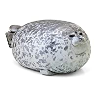 Baiwka Plush Cute Seal Pillow, Stuffed Cotton Soft Animal Toy Chubby Hugging Pillow Toy Cute Ocean Pillow Pets Gift for Kids Couples Friends Girls, Grey, S (30CM)