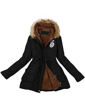Fami-Giacca invernale con cappuccio con colletto in pelliccia lunga calda delle donne
