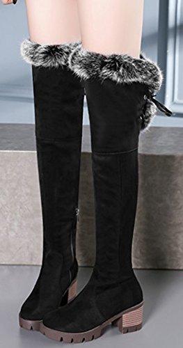 Bottes Noir Genou Femme De Hiver Aisun Chaussures Chaud Cuissardes HfUwPxtq