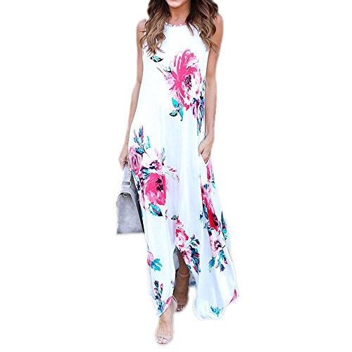 Kleid Toga Womens (Uranus Damen Blumen Gedruckt High Low Hem Maxi Boho Langes Kleid Kleider mit Pocket)