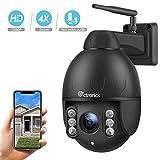 Ctronics überwachungskamera Aussen, 360° Drehen PTZ Kamera IP Dome Kamera, 4-Fach optischem Zoomobjektiv Outdoor Kamera, Zwei Wege Audio 60m IR-Nachtsich, IP66 wasserfest, Unterstützung SD Karten