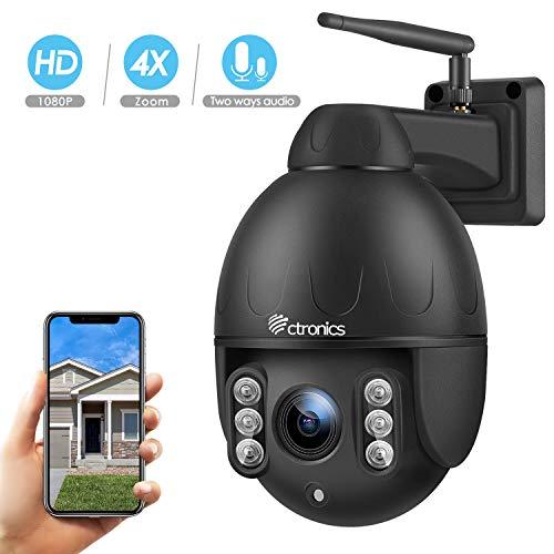 Ctronics PTZ Kamera IP Dome überwachungskamera Aussen, 4-Fach optischem Zoomobjektiv Outdoor Kamera, Zwei Wege Audio 60m IR-Nachtsich, IP65 wasserfest, Unterstützung SD Karten
