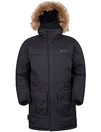Mountain Warehouse Antártica Mens Winter acolchado con capucha alineada piel impermeable Parka Down Jacket Coat