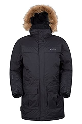 Mountain Warehouse Antarctic Mens Winter Padded Hooded Fur Lined Waterproof Parka Down Coat Jacket Charcoal Large