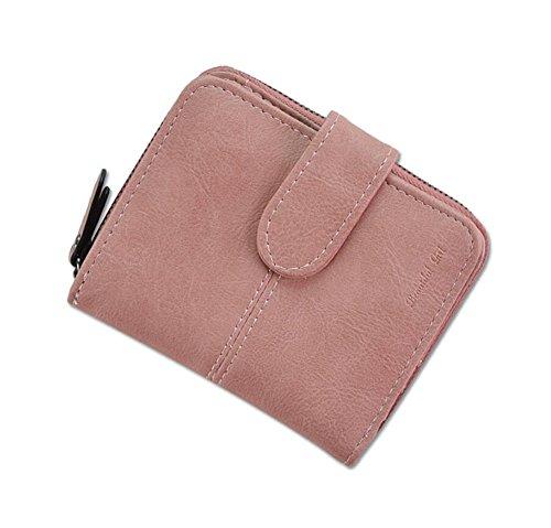 Ylen Damen Zweifach Geldbörse Klein Brieftasche Kurze Portemonnaie mit Münze Tasche Karte Halter (Rosa Kleine Damen Portemonnaie)