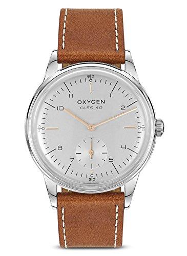 Oxygen–Reloj Hombre Acero–Esfera plata translúcido–Correa de piel color camel–City 40Mario–l-c-mar-40