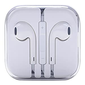 CubeTech Apple Compatible Earphones for iPhone 5, 5S, 6, 6S /Mic and Remote (White, Mic_003)