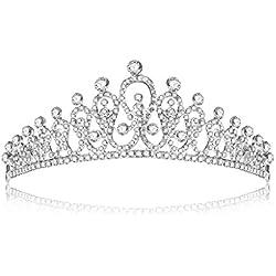 Longsw Novia Boda Rhinestone Ornamento Floral Tiara Corona De Pelo De Lujo Princesa Reina