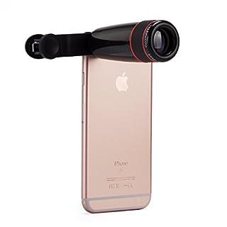 ANTFEES Universal 8 X Telefon Linse Teleskop Kamera Tele Zoomobjektiv mit Clip für Smartphones(schwarz + rot)