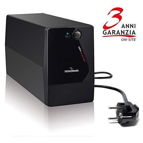 Tecnoware UPS ERA Plus 750, Potenza 750 VA, Autonomia fino a 10 min con 1 PC o 40 min con Modem Router, Stabilizzazione AVR