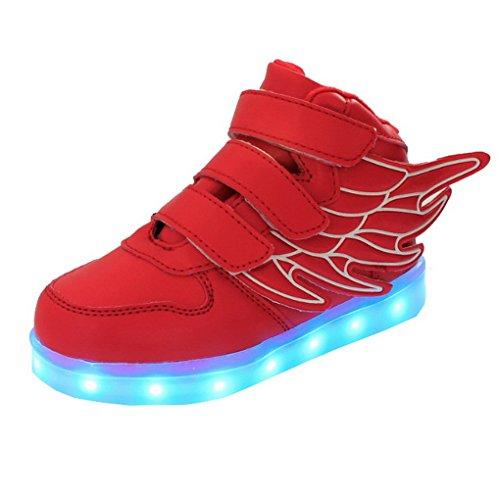 ACME LED Schuhe Sportschuhe Sneaker Turnschuhe mit USB Aufladen für kinder Jungen Mädchen - 1199 Rot