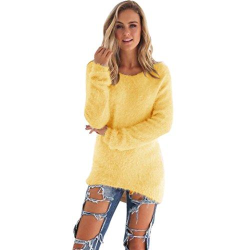 Donna sportiva Solid maniche lunghe jumper Maglioni camicetta (S, Giallo)