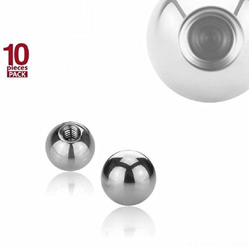 Stahl - Schraubkugel - 10er Pack (Piercing Schraubkugel Aufsatz für Hufeisen, Stäbe, Labrets etc. silber) 1,2 mm | 4 mm