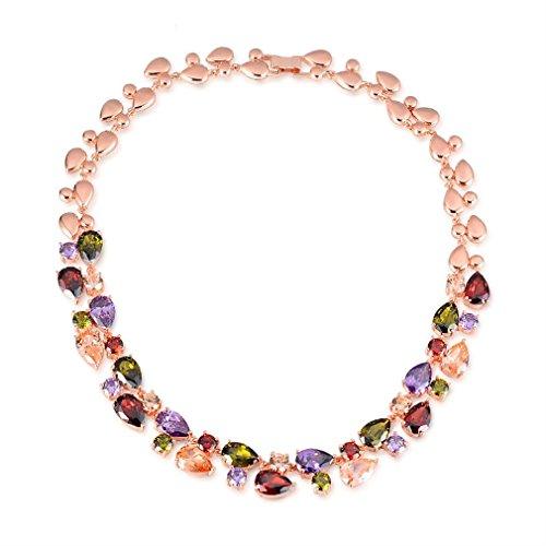 Yazilind Frauen Halskette Kette Western Stil Farbe Zirkon Rose vergoldet Anhänger Halsband