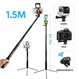 "Moreslan 59"" Bluetooth Selfie Stick Tripod with Remote for Phone Tablet, 3 in 1 Extendable Monopod Tripod Stand for SLR Camera 360° Rotation"