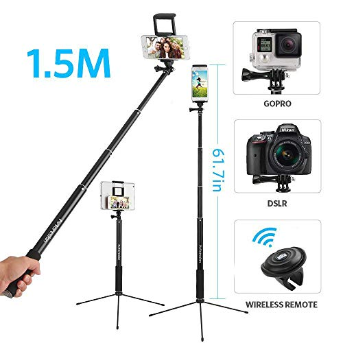 Moreslan Bluetooth Selfie Stick 1.5M, Bastone Treppiedi Allungabile Treppiedi per Camera con Telecomando Supporto Telefono
