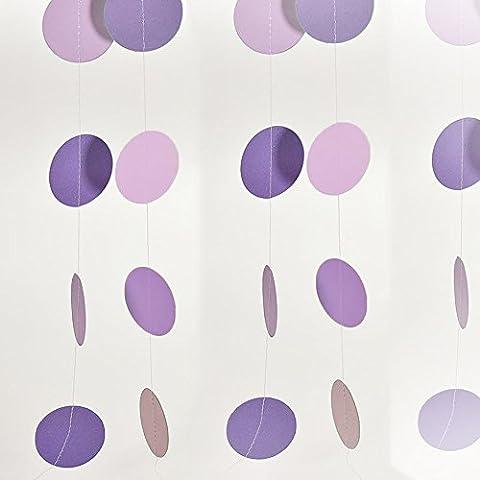 Opuman 2 Meter Runde Form Bunte rosa und lila hängende Papier Girlanden String Kette für Hochzeitstag Verlobungsfeier Home Geburtstag Kinder Mädchen Zimmer Dekoration