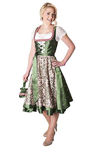 Ludwig und Therese Damen Trachten Dirnd Penelope midi grün/rosa 1196 32