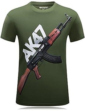 TheresaWFlory Camiseta de Verano de Manga Corta de Impresión 3D Ropa Deportiva de Exterior Creativa AK-47 O-Cuello...