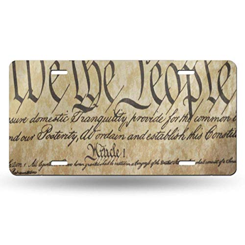 FunnyCustom License Plate Frame The Constitution United States of America Fantastic Aluminum Metal Tag Holder Waterproof 12 x 6 Inch Decoration - United License Plate Frame
