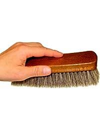 DELARA Cepillo lustrador muy grande de madera lacada, suave crin de caballo y color gris plata