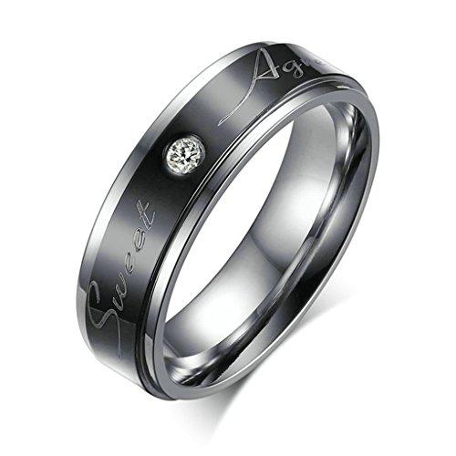 Daesar Edelstahl Ring Silber Schwarz Zirkonia Ring
