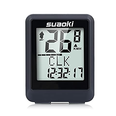 Suaoki Wireless Cycle Computer Water Resistant Bike Speedometer with Big backlight LCD Display, Odometer Speed Time Calories Temperature Data Record, etc.