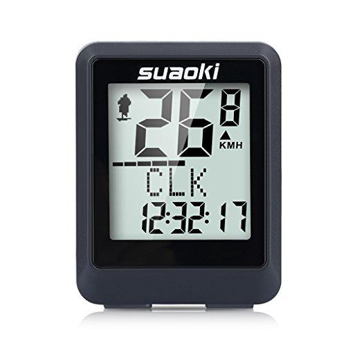 Suaoki Sport Drahtloser Fahrradcomputer Stoppuhr Radcomputer, LCD Fahrrad Tachometer, Kalorien und CO2-Emissionen usw., für Ttracking Geschwindigkeit und Distanz