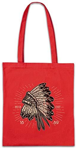 Urban Backwoods Indian Chief Hat Hipster Bag Beutel Stofftasche Einkaufstasche