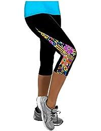 YR.Lover Women's Stitching Color Slim Capri Yoga Pants Sports Leggings