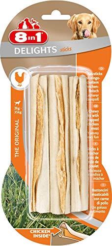 8in1 Dental Delights Sticks - Bastoncini  Masticabili con Carne di Pollo Avvolta In Pelle di Bufalo, 3 pezzi (75 g)