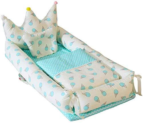 GEZHU Baby Nest, Neugeborenes Baby Lounger, bewegliches Baby-Nest Bassinet, 100% Baumwolle atmungsaktiv hypoallergen Babybett, ideal for Baby-Schlafsäcke (Farbe: B) Praktischer Klappstuhl (Color : D)