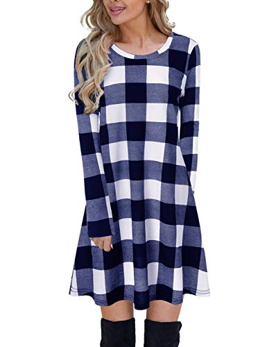 Color Block Kariertes Kleid Langarm Swing Jumper Winter T-Shirt Kleider für Frauen Blau,S ()