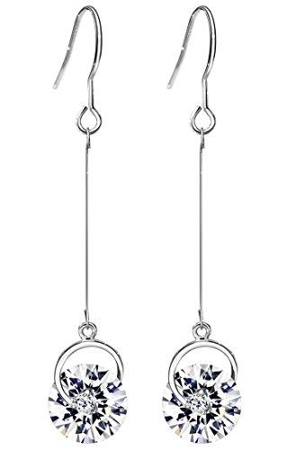 Neoglory Jewellery Zirkonia Ohrringe hängend Weiß Damen elegant luxus (Girl Christmas Womens Kostüme)