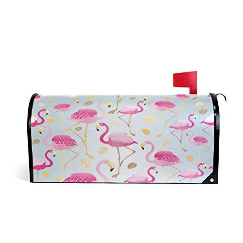 DOSHINE Briefkastenabdeckung mit tropischen rosa Flamingo-Tierblättern, goldfarben, magnetisch, 65,5 x 53,3 cm (Hof Flamingos Rosa)