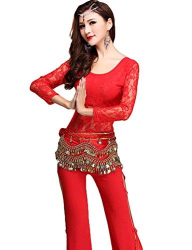 Yijee donna pizzo manica lunga danza del ventre costume set tops + split pantaloni rosso m