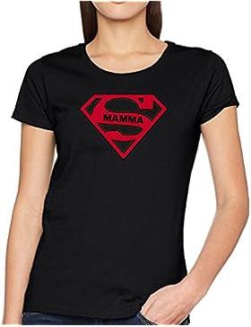 WIXSOO Shirt Donna Super Mamma Auguri Festa Funny Divertente Nera Moda Stile Maglia Maglietta