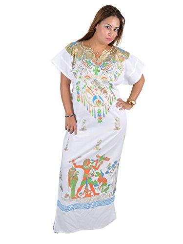 (Cleopatra Pharao Kostüm Damen-Kaftan Faschingskostüm Karnevalskostüm Ägypterin, Farbe: weiß (44-46 (L)))