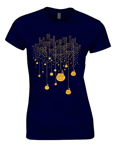 OVES City Lights Bulbs Buildings Surreal Crazy Yellow Golden Night Skyfall Womans Cut Shirt Top - Navy-Blue - UK:16 - XX-Large