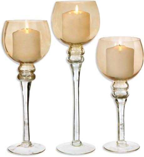 Amber Hurricane (Palais Glaswaren Elegante BOUGEOIR Collection, Set 3Hurricane Kerzenhalter Amber Finish)