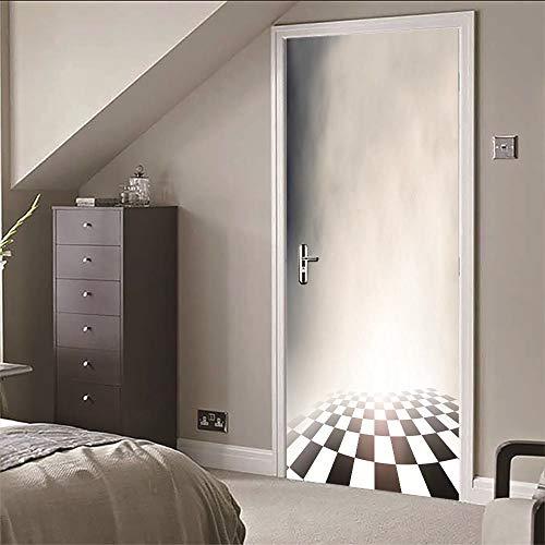 3D Tür Wandaufkleber Karierten Boden Qualität PVC Selbstklebende Wasserdichte Abnehmbare Art Decals Für Dekoration Wandbild 77x200cm