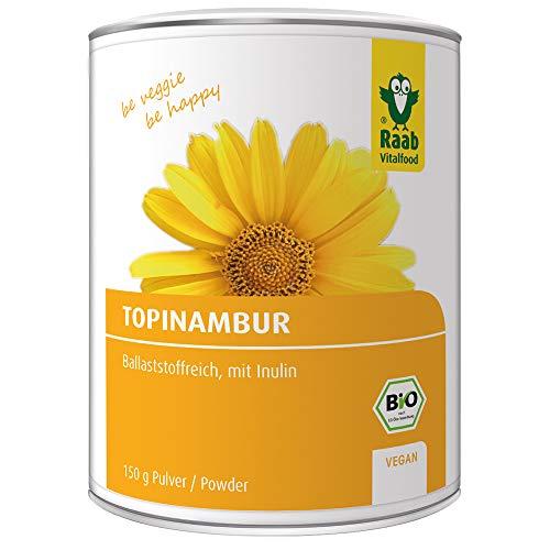 Raab Vitalfood Bio Topinambur-Pulver, vegan, ballaststoffreich, mit Inulin, ohne Zusätze, laborgeprüft, Sonnenwurzel, 1er Pack (150 g) -