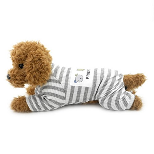 ranphy Kleiner Hund/Katze Outfits Pet Kleidung aus Baumwolle Weiß gestreift Neutral Jumpsuit für (Pet Outfits Für Katzen)