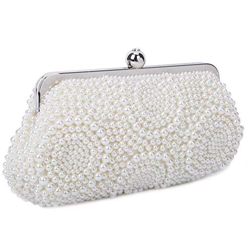 Perlen Clutch Handtasche (BAIGIO Clutch Damen Perlen Abendtasche Elegant Handtasche für Hochzeit Party)