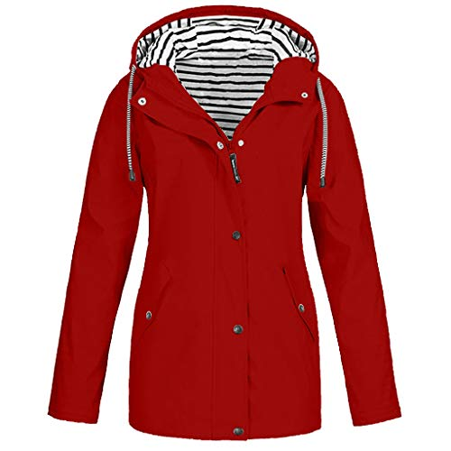 Deloito Damen Übergröße Regenjacke Draussen Reisejacken Bergsteigen Sport Windbreaker Wasserdichter Regenmantel mit Kapuze Winddicht Mäntel (Rot,Medium)