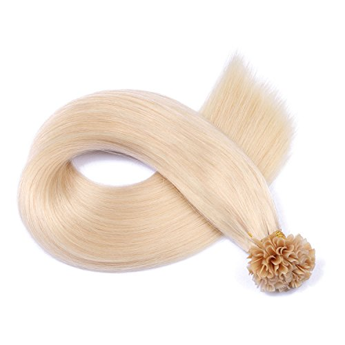Keratin Bonding Hair Extensions 100% Remy Echthaar Haarverlängerung (#60 - WEISSBLOND - 100 Strähnen 0,5 g - 60 cm) U-Tip Extention Remy Qualität by Haar-Profi