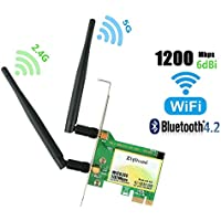 PCIE Wifi Card, AC1200Mbps Wireless Card, Dual-Band 1167Mbps(5Ghz-867Mbps/2.4Ghz-300Mbps) Network Card with Bluetooth 4.2, PCI-Express Wireless Adapter For Desktop PC, Supports Windows 10/8/7(WIE8260)