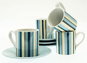 Espresso Coffee Cups & Saucers Set - Retro Blue Stripes